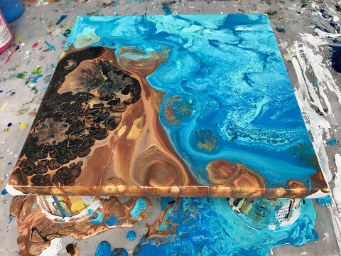 Acrylic Pour Painting Turning A Puddle Pour Into A Multi