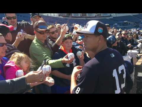 Alex Rodriguez signs autographs for Yankees fans at Spring Training