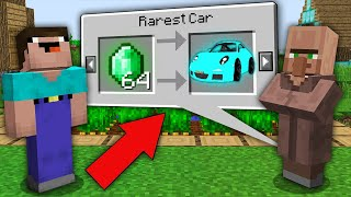 Minecraft NOOB vs PRO: ONLY THIS VILLAGER TRADING RAREST CAR! Challenge 100% trolling