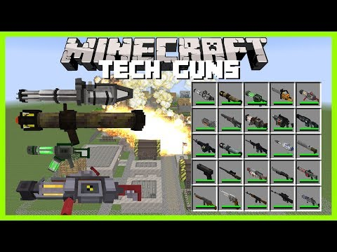 Minecraft - TECH GUNS MOD ( NUCLEAR ROCKETS, DEATH RAYS, STAR WARS BLASTERS AND MORE CRAZY WEAPONS)