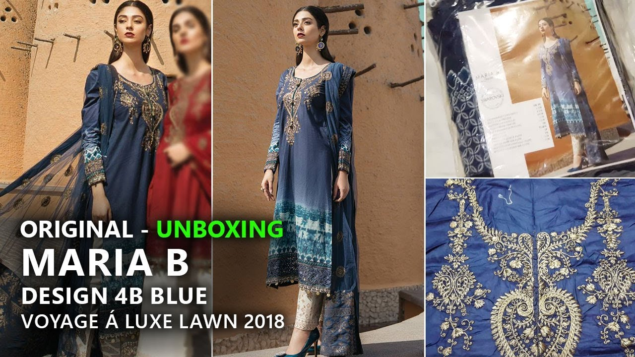 6d4f9b0944 Maria B Collection 2018 - Unbox 4A Blue Voyages Luxe Lawn 2018 - Pakistani  Branded Dresses