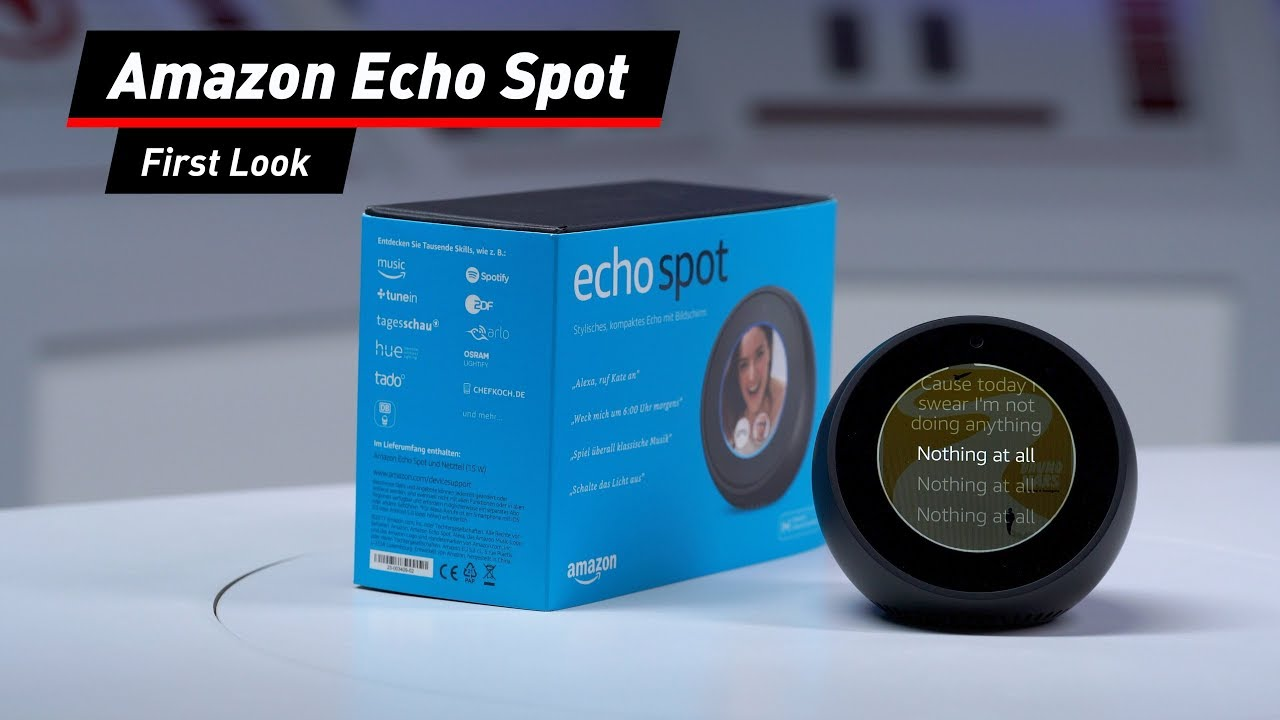 amazon echo spot alexa kompakt mit bildschirm youtube. Black Bedroom Furniture Sets. Home Design Ideas
