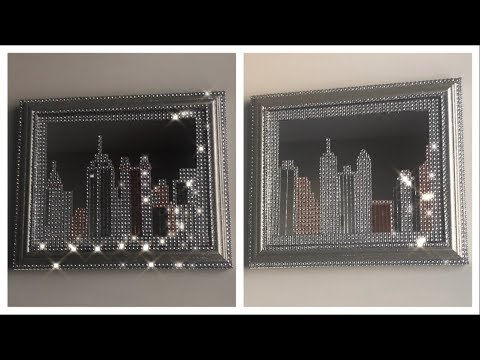 DOLLAR TREE DIY GLAM MIRROR SKYLINE WALL DECOR