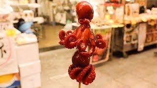Japanese Street Food - Baby Octopus Kuromon Osaka Japan