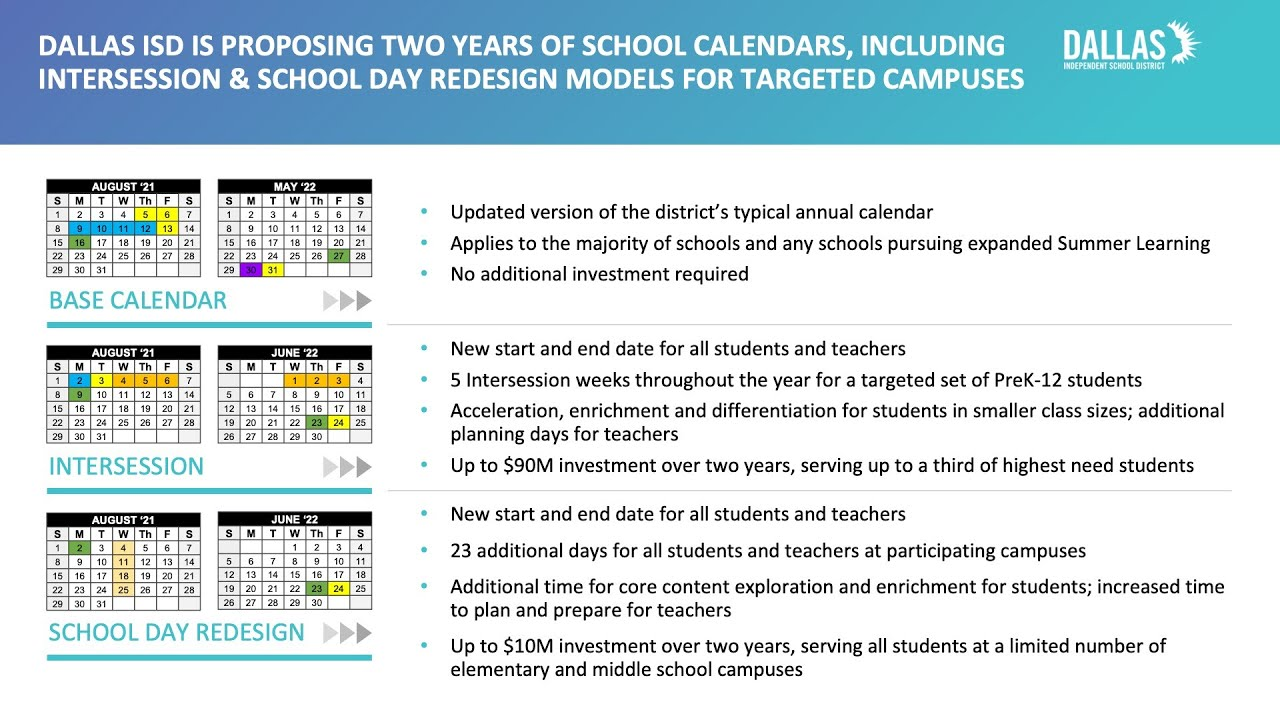 Dallas Isd Calendar 2022.Dallas Isd Is Proposing Three Calendar Models In Effort To Provide More Learning Time For Those Who Need It The Most The Hub