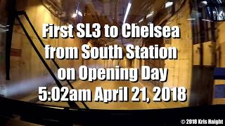 First MBTA SL3 Bus from South Station to Chelsea - Opening Day 4/21/16
