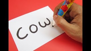 How to turn word COW into a Cartoon COW ! Learn drawing art on paper for kids
