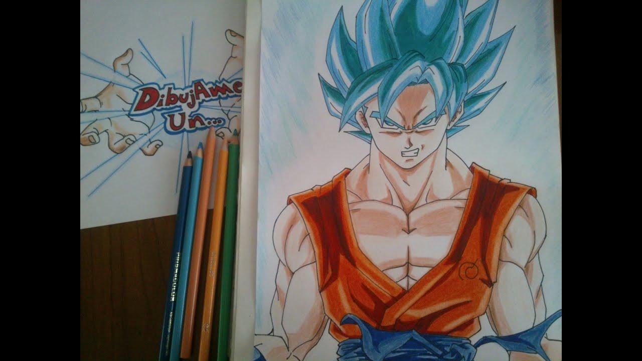 Como dibujar a Goku SSJ dios Azul paso a paso How to draw Goku