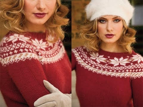 5 Fair Isle Yoke Pullover, Vogue Knitting Winter 2010/11 - YouTube