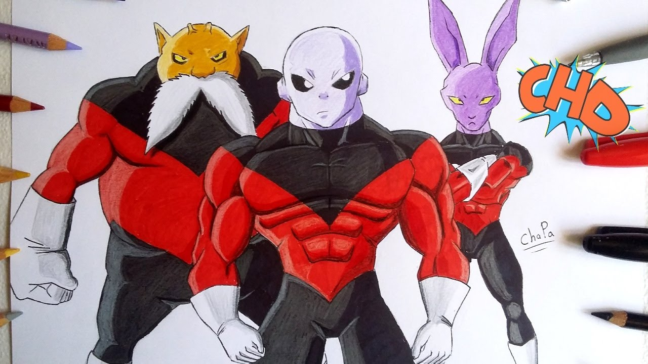 DIBUJANDO A JIREN,TOPPO Y DYSPO DRAGON BALL SUPER