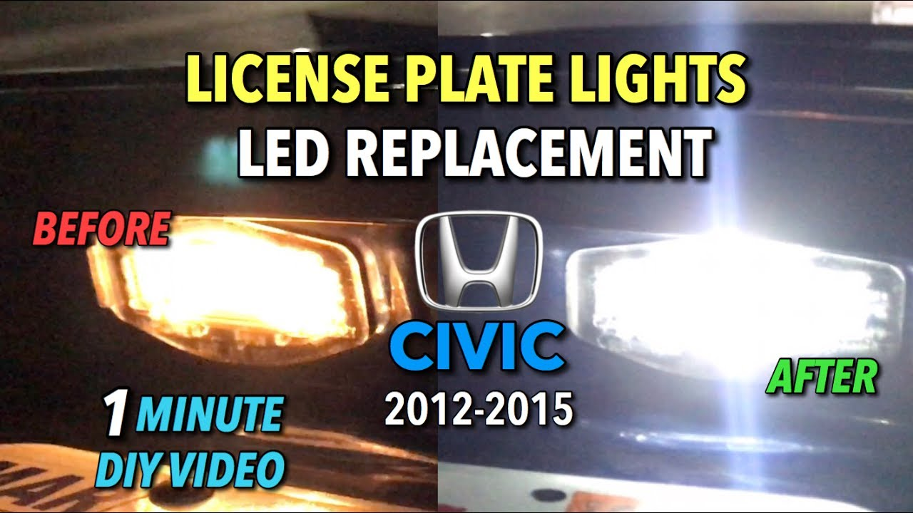 Number Plate Lights Bright White LED SMD 2011-2016 Honda Civic 9th Gen