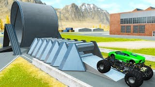 Beamng drive - GIANT ROLLERS Consistently Crash Cars and Car Flattener