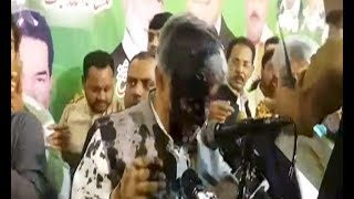 Ink thrown at Khawaja Asif during workers convention in Sialkot