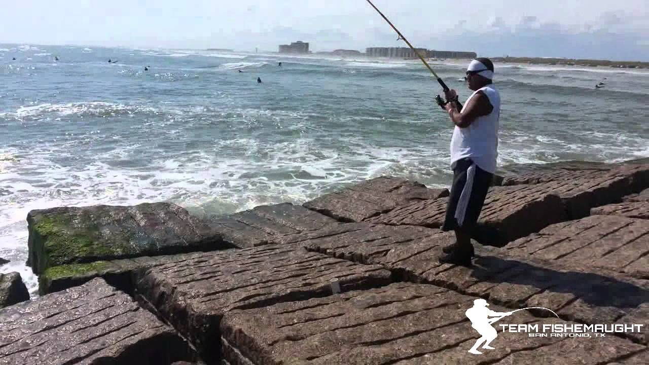 bull red fishing off the packery channel jetties youtube