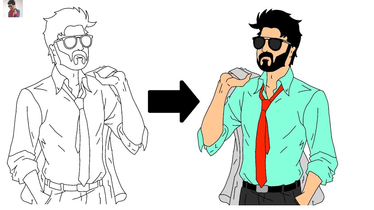 How To Draw Thalapathy Vijay | Master Thalapathy Vijay ...