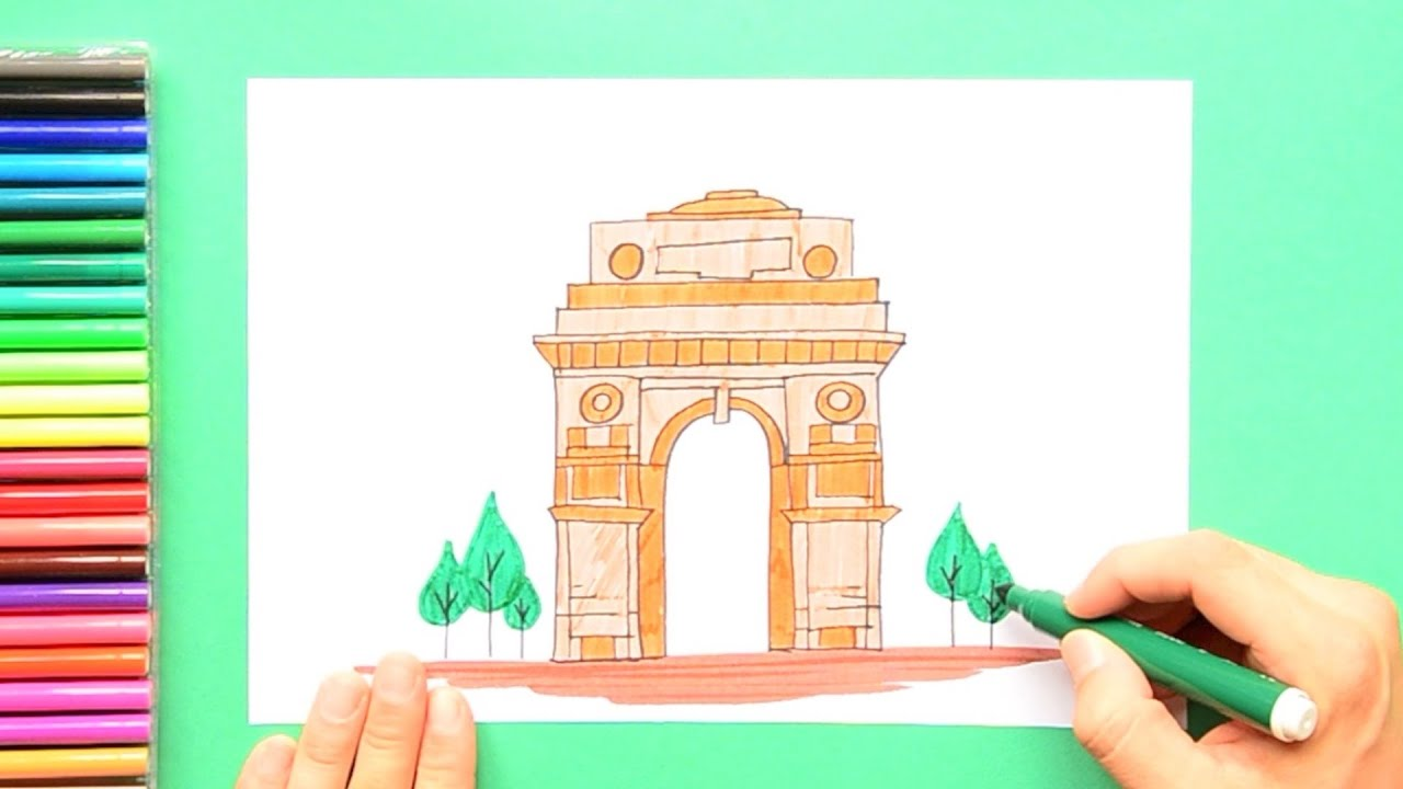How To Draw India Gate New Delhi Youtube