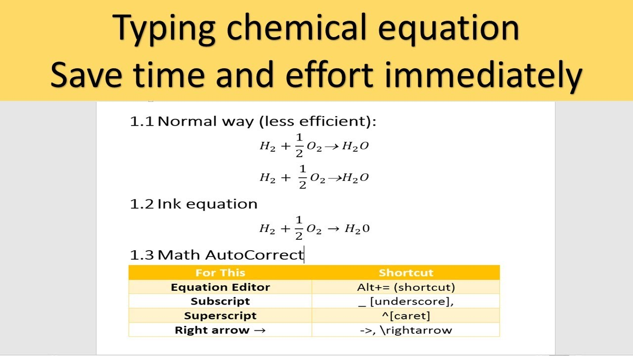 15 ways to type chemical reaction, chemical equation, reaction arrows in  Word 15 & above