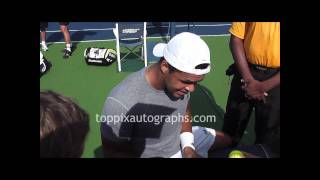 Jo-Wilfried Tsonga - Signing Autographs at the 2011 U.S. Open in Flushing Meadows
