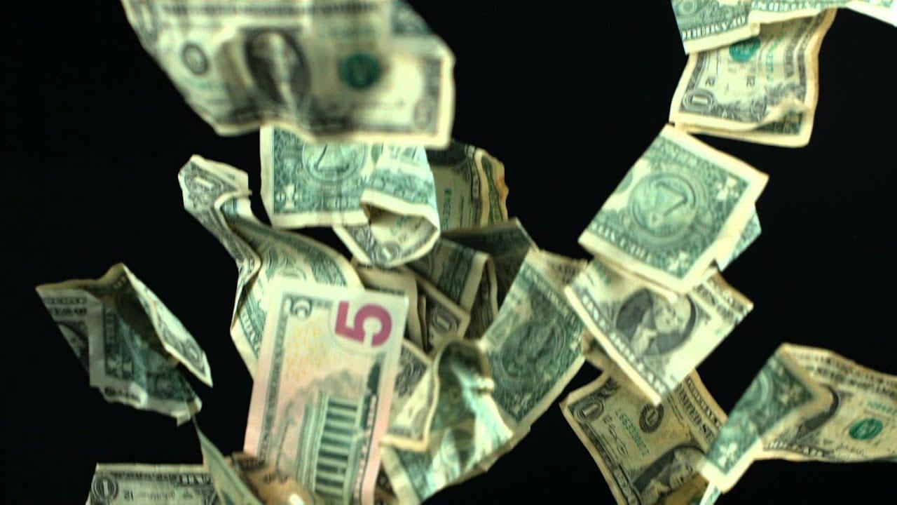 Money Falling Wallpaper Slow Motion Falling Money Hd Us Dollars Fall From The Sky