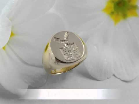 Engraved Gold Signet Ring with Family Crest