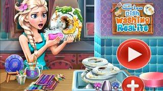 NEW мультик онлайн для девочек—Эльза после праздничного обеда моет посуду—Игры для детей