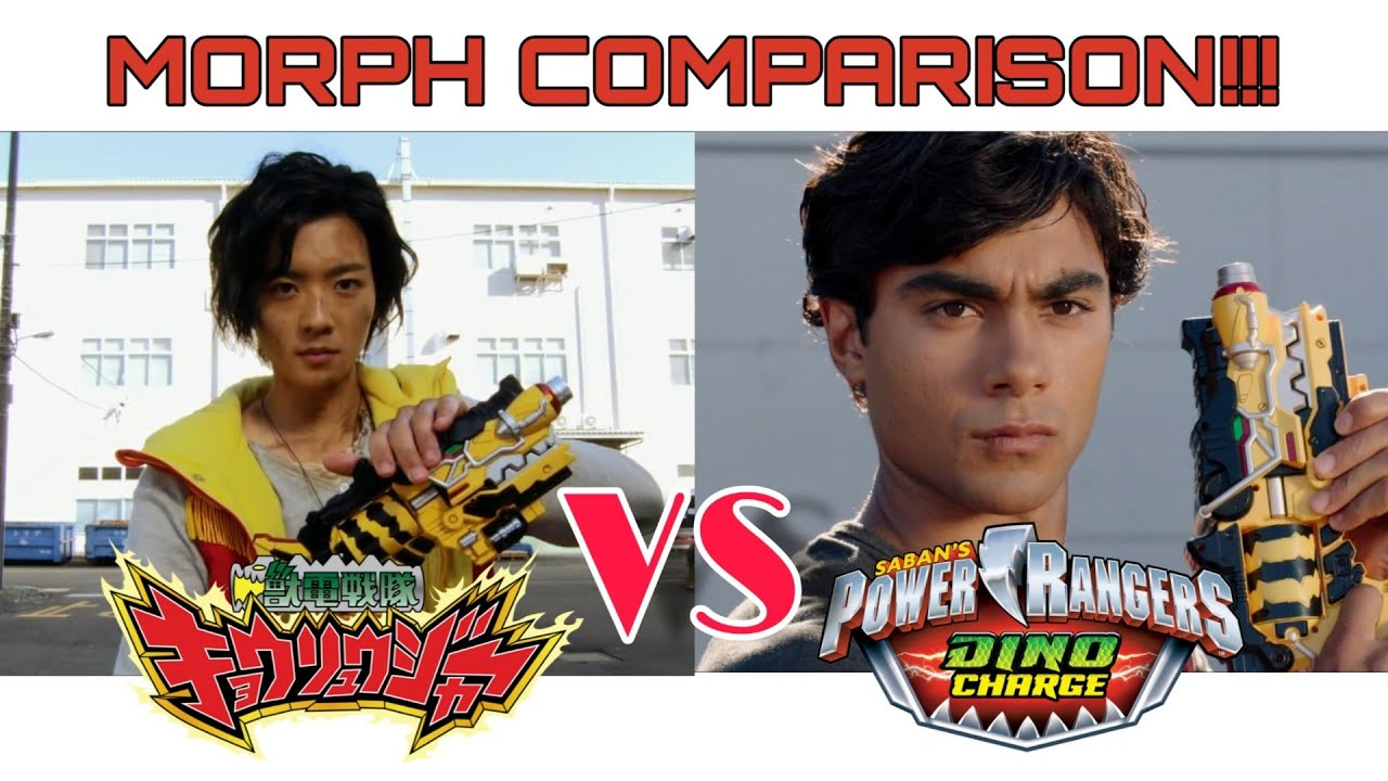 Download Dino Charge vs Kyoryuger   Red Ranger First Morph Comparison