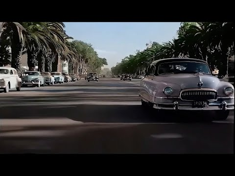 A Day in Los Angeles 1940's in color [60fps, Remastered] w/added sound