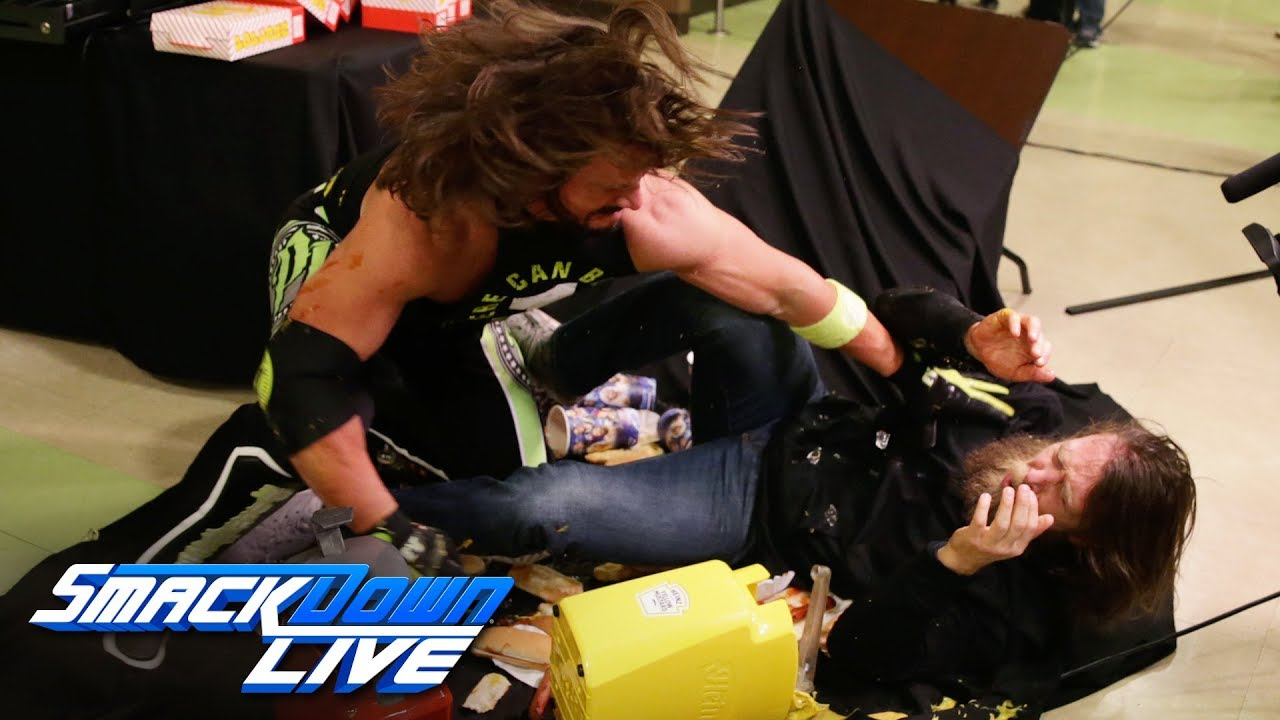 AJ Styles drives Daniel Bryan through a concessions table: SmackDown LIVE, Jan. 15, 2019