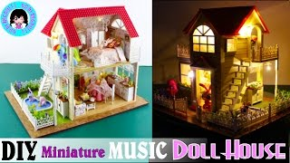DIY Miniature Music Doll House~ 2 Storey house, Furniture, Swimming Pool, Lights ~Princess Cottage