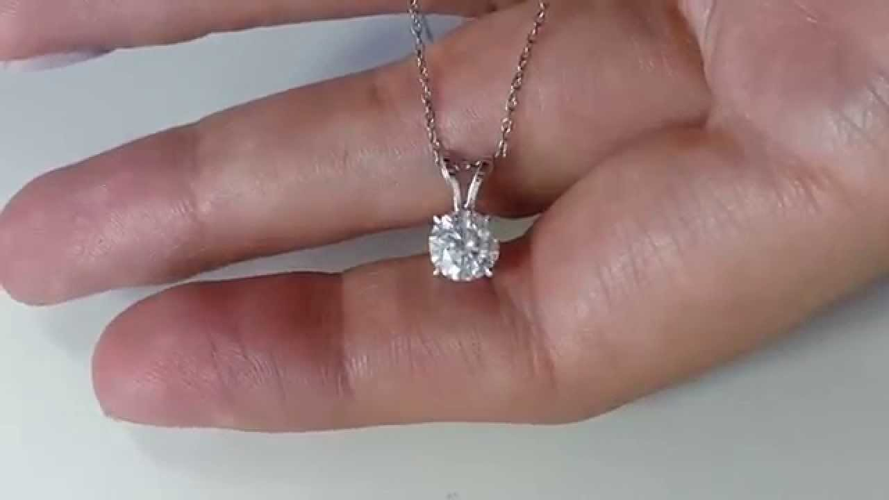solitaire diamond pendant gold in carat a necklace white with