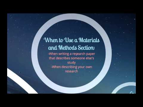 How to Write a Materials and Methods Section