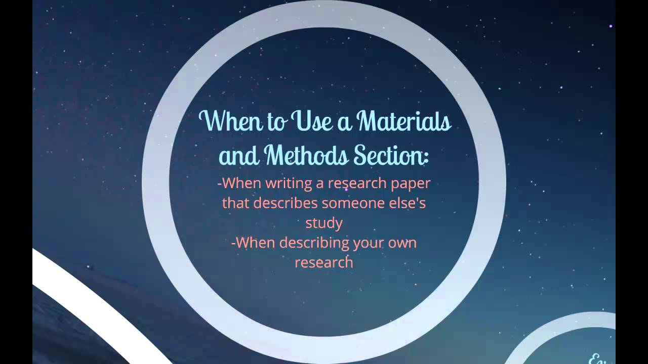 How To Write A Materials And Methods Section YouTube