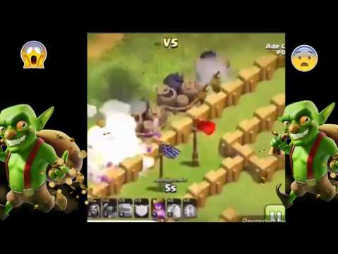 Clash of Clans goblin insane all traps-giant bomb etc escape in 4 sec