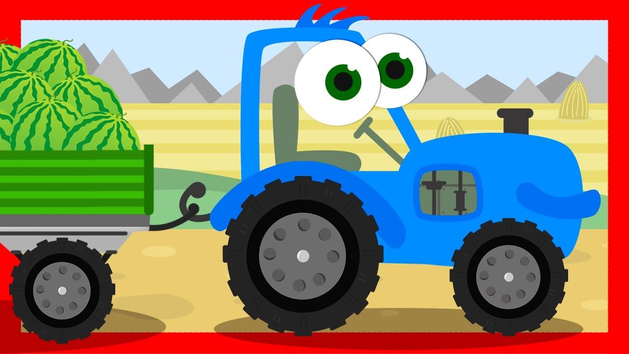 Маленькие Машинки - СИНИЙ ТРАКТОР собирает урожай ...