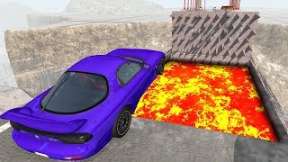 Open Bridge Crashes over Lava Pool - Beamng drive