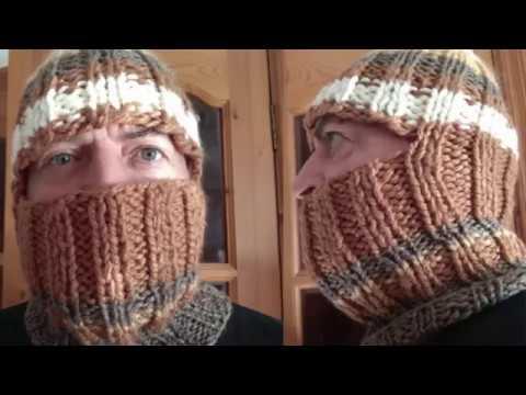 Как связать шапку шлем мужскую спицами