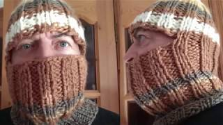 Шапочка шлем (балаклава) часть 2 Спицы