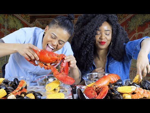 SEAFOOD BOIL MUKBANG - King Crabs, Lobsters, Mussels, Clams + EMOTIONAL SURPRISE -  LOU CRIES!
