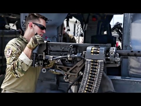 USAF Helicopter Crew Preps For Combat Rescue Mission