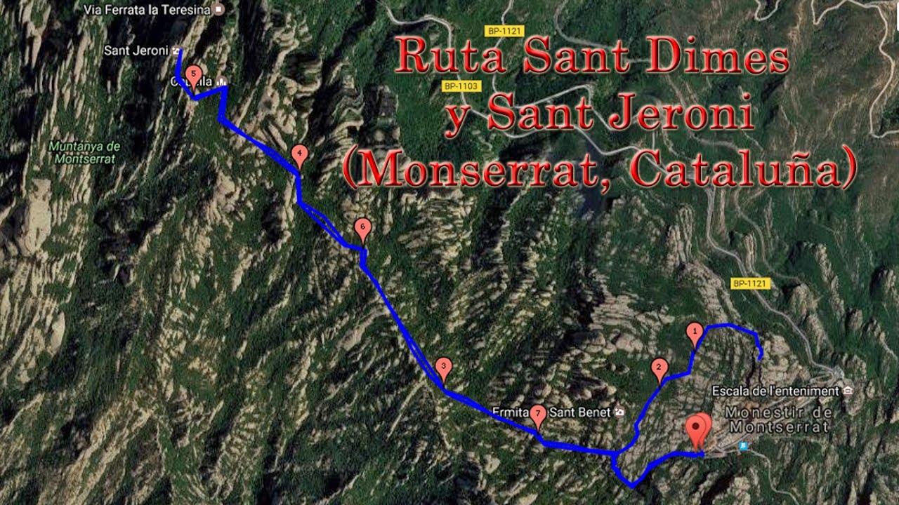 Ruta Sant Dimes y Sant Jeroni (Monserrat, Cataluña) - YouTube