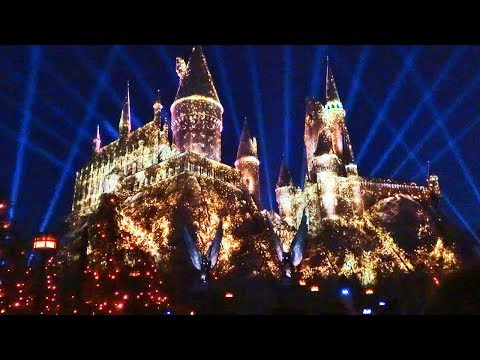 "NEW ""Nighttime Lights at Hogwarts Castle"" Harry Potter projection show, Universal Studios Hollywood"