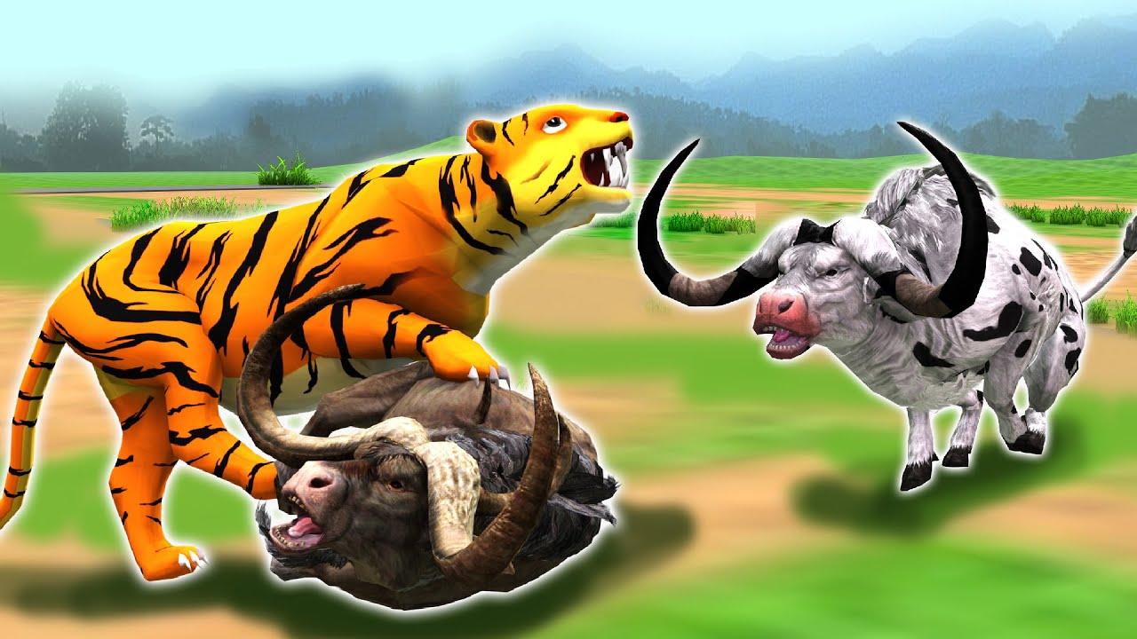 भूखा बाघ दो चतुर भैंस Hungry Tiger Two Clever Buffalo Kahani Hindi Kahaniya हिंदी कहनिया