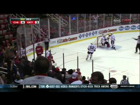 Jonathan Ericsson goal 4-3 last min of game. Chicago Blackhawks vs Detroit Red Wings 9/22/13 NHL