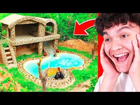 They Built An INSANE SECRET UNDERGROUND POOL HOUSE! (Primitive)