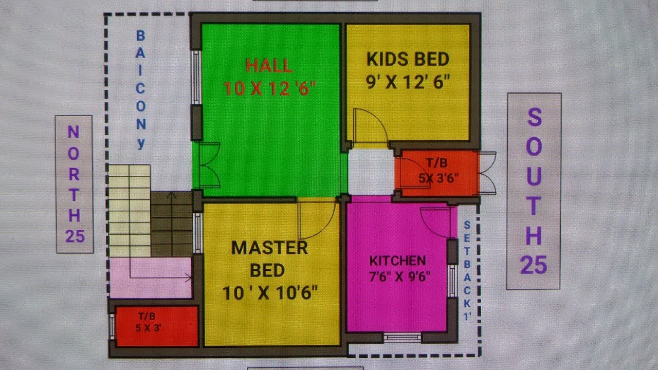 25 X 27 (20 X 30) North Face House Plan Map Naksha