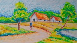 drawing easy landscape village tutorial drawings tutorials draw nature