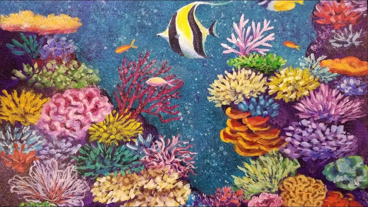 coral reef with tropical fish live acrylic painting tutorial youtube. Black Bedroom Furniture Sets. Home Design Ideas