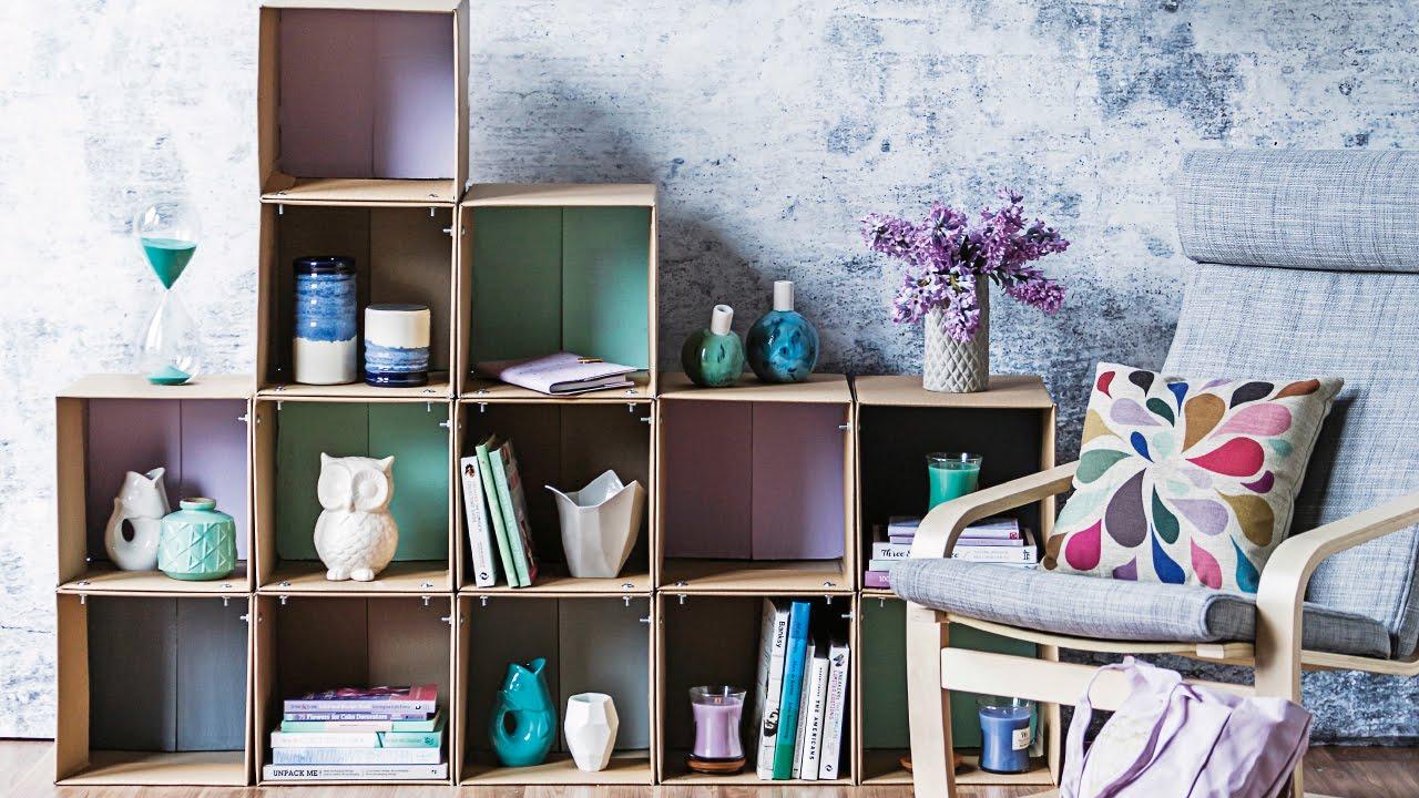bookshelf cardboard box youtube diy watch shelves