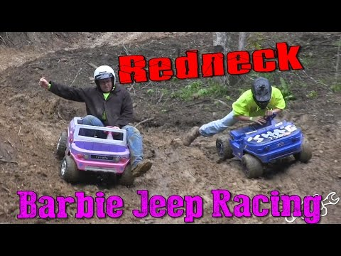REDNECK BARBIE JEEP RACING IN THE MUD