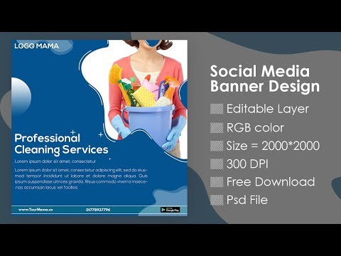 Cleaning Service Social Media Banner Design In Photoshop Tutorial | Free Download | Designhob